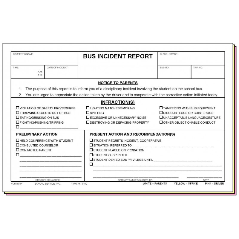 98F - Bus Incident Report - Carbonless Forms